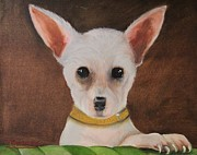 Tiny Dogs Prints - White Chihuahua Print by Terry Lewey