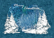 Snow-covered Landscape Digital Art Posters - White Christmas Merry Christmas Greetings Poster by Darlene Bell