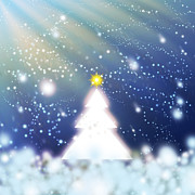 Backdrop Digital Art Originals - White Christmas Tree by Atiketta Sangasaeng