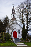 Red School House Posters - White Church With Red Door Poster by Elena Nosyreva