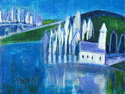 Church On The Hill Prints - White Church with Water and Trees Print by Betty Pieper