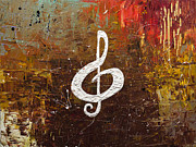 Violin Paintings - White Clef by Carmen Guedez