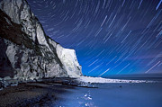 Port Kent Framed Prints - White Cliffs of Dover on a Starry Night Framed Print by Ian Hufton