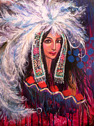 Indian Maiden Paintings - White Clouds Head Dress by Kimberly Van Rossum