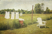 Laundered Posters - White cotton clothes drying on a wash line  Poster by Sandra Cunningham