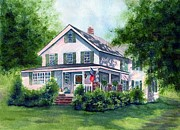 Old Houses Painting Prints - White country farmhouse Print by Janine Riley