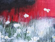 Life Paintings - White Daisies by MaryEllen Frazee