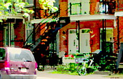 Montreal Memories. Art - White Double Doors Lower Duplex Verdun Stairs Flower Box Bike Beautiful Scenes Carole Spandau by Carole Spandau