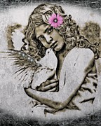 Young Lady Mixed Media Prints - White Dove Print by Tisha McGee