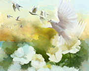 Fresh Flowers Paintings - White Doves by Catf
