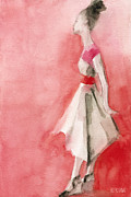 Watercolour Portrait Prints - White Dress with Red Belt Fashion Illustration Art Print Print by Beverly Brown Prints
