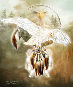 Spirit Catcher Framed Prints - White Eagle Dreams Framed Print by Carol Cavalaris