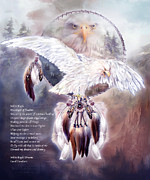 Bird Of Prey Art Prints - White Eagle Dreams w/prose Print by Carol Cavalaris