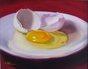Lavonne Hand Framed Prints - White Egg Study Framed Print by LaVonne Hand