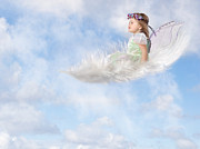 Floating Girl Art - White Feather Dream by Cindy Singleton