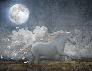 Dream Scape Digital Art Prints - White Feathered Moon Print by Terry Kirkland Cook