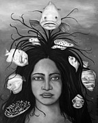 Afro-american Paintings - White Fish bw by Leah Saulnier The Painting Maniac