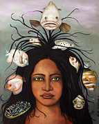 Afro-american Paintings - White Fish edit 3 by Leah Saulnier The Painting Maniac