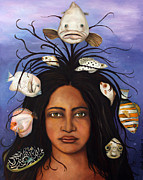 Haitian Painting Framed Prints - White Fish Framed Print by Leah Saulnier The Painting Maniac