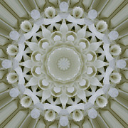 Mandala Photos - White Floral Mandala 2 by Carrie Cranwill