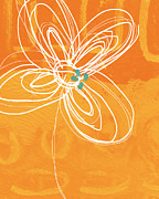 Blue And Orange Abstract Art Prints - White Flower on Orange Print by Linda Woods