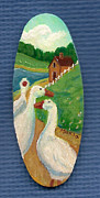 Geese Paintings - White Geese On The Lane by Marla Hoover