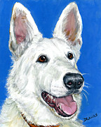 Dottie Prints - White German Shepherd on Blue Print by Dottie Dracos