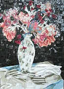 Table Cloth Mixed Media Prints - White Glove Print by Diane Fine