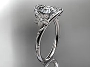 Leaf Engagement Ring Jewelry - White Gold Diamond Unique Engagement Ring Wedding Ring by Anjays Designs