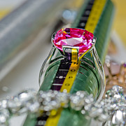 Color  Colorful Jewelry Prints - White gold ring with ruby  Print by Banjong Khanyai
