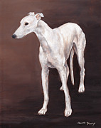 Sight Hound Painting Posters - White Greyhound Poster by Charlotte Yealey