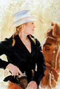 Horse Pastels Originals - White Hat by Debra Jones