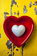 Table White Framed Prints - White heart red heart Framed Print by Garry Gay