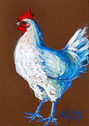 Shadows Pastels Posters - White Hen Poster by EMONA Art