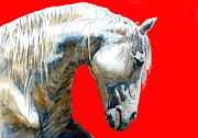 Unique Art Drawings Posters - White Horse In Red  Poster by Juan Jose Espinoza