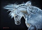 White Horse Print by Louise Charles-Saarikoski