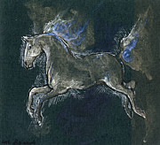 White Horses Drawings Prints - White Horse Minature Painting Print by Angel  Tarantella
