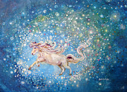 Spiritual Prints - White Horse Riding Farther Away Than The Stars Print by Ashleigh Dyan Moore