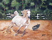 Heeler Paintings - White Horse With Dog Painting Romp by Robert Lafaye