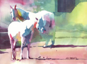 Wyoming Paintings - White Horses by Kris Parins