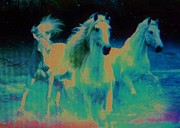 White Horses Mixed Media Prints - WHITE HORSES   Pop Art Print by Gunter  Hortz