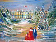 Old Man With Hat Framed Prints - White House on a Hill Framed Print by Patricia Taylor