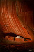 Canyon De Chelly Posters - White House Ruins Illuminated Poster by Jerry McElroy