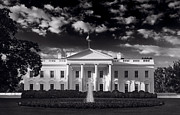 White Prints - White House Sunrise B W Print by Steve Gadomski