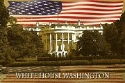 Us Capital Mixed Media Framed Prints - White House Washington - Patriotic Poster Framed Print by Peter Art Print Gallery  - Paintings Photos Posters