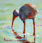 Sunset Greeting Cards Painting Posters - White Ibis  Everglades Bird  Poster by Patricia Awapara