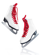 Old Skates Posters - White ice skates with red laces Poster by Oleksiy Maksymenko