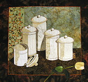 Fabric Collage Tapestries Textiles Posters - White Jars Poster by Lynda K Boardman