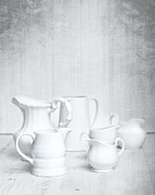 Background White Prints - White Jugs Print by Christopher and Amanda Elwell