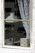 Oil Lamp Originals - White Lace Window by Alison Gunn